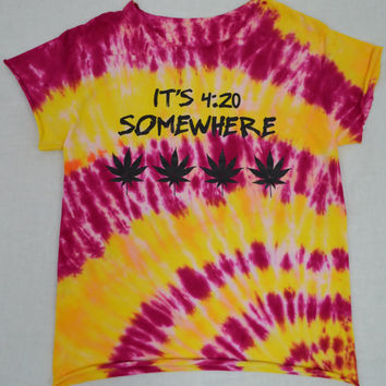 Tie Dye Shirt pot leaf Soft Grunge Hippie Psychedelic Small Womens Tie Dye Clothing Handmade Tie Dye Yellow Girly Stoner Pot Leaf Print