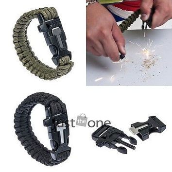 New Useful Outdoor Survival with Flint Fire Starter Scraper Whistle Paracord Bracelet Blue