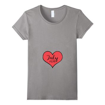 Pregnant Heart July Valentine's Pregnancy Announcement Shirt