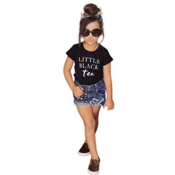 Girls Little Black Tee 2pc. Outfit
