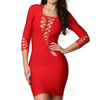 Chicloth Red Asymmetric Cut out Lace up Long Sleeve Bandage Dress