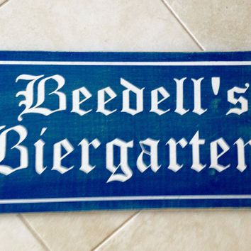 24x12 Custom Biergarten Name Wood Sign