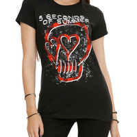 5 Seconds Of Summer Plaid Skull Girls T-Shirt