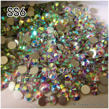 2058NoHF SS6 AB Crystal Stones Flat back Strass Non Hot Fix Rhinestones For Nails Art and Clothes