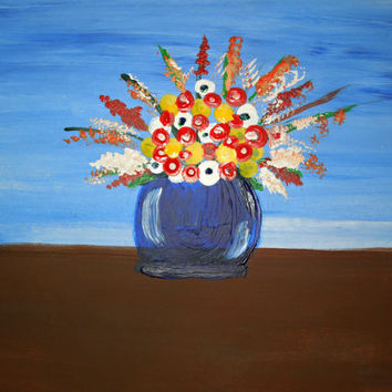 Bouquet of Flowers Painting SFA Blue Background