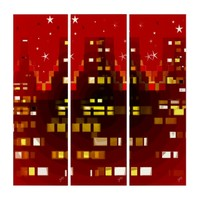 Epicenter Red City Night Skyline with Stars Triptych