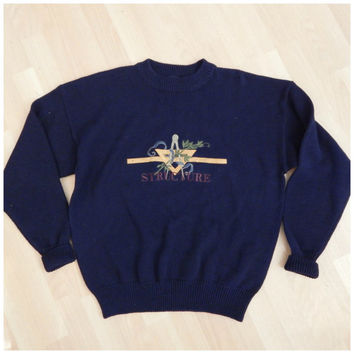 90s Vintage Structure Casual Crewneck Ramie Blend Pullover Sweater XLarge