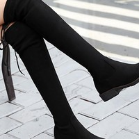 New Black Round Toe Chunky Fashion Over-The-Knee Boots