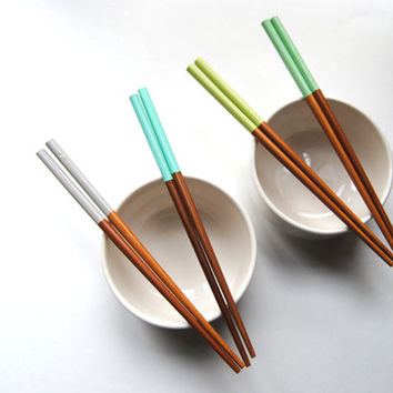 Sea Urchin Collection - Gray, Blue, Green, Teal, Mint - Set of 4 Paint Dipped Finished Bamboo Chopsticks