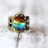 Filigree Colorful Galaxy Ring With Nebula Resin Cabochon - Galaxy Space Jewelry - Adjustable Resin Ring Mystical Jewelry