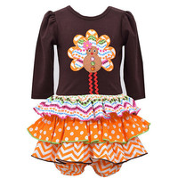 Bonnie Baby Newborn-24 Months Thanksgiving Turkey Mixed Media Dropwaist Dress | Dillards