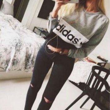 """Adidas"" Women Casual Multicolor Letter Print Long Sleeve Sweater Sweatshir Tops"