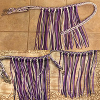 Dark purple, light purple, navy, and white fringe reins