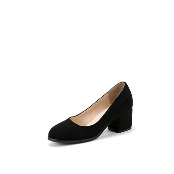 Suede Medium Heel Shallow Mouth Shoes for Women