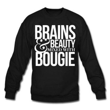 Brains & Beauty Mixed with Bougie Natural Hair Women's Crew Neck Sweatshirt - Black