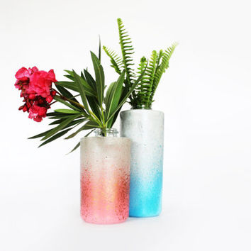 Concrete Vase Handmade & Painted Metallic Copper + Guava colourful concrete + glass vase urban housewares kitchen vessel