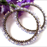 Purple Lilac Silver Lined Glass Triangular Wire Wrapped Hoop Earrings