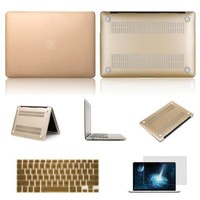 "Macbook Pro 13.3"" with Retina Case,IC ICLOVER Rubberized Matte Hard Shell Plastic Case+Matching Keyboard Skin+LCD HD Screen Protector for MacBook Pro 13.3"" with Retina Display A1502/A1425(Gold)"