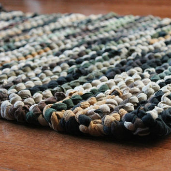 T Shirt Rag Rug Rustic Camo Military Brown Olive Drab Army Green Tan Masculine Earthy Neutral Rectangle 25 x 35 --US Shipping Included