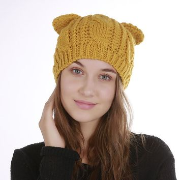Winter Women's Cat Ears Beret  Leisure Warm Hat Fashion Lady Cap Without Brim Hat Solid Colour Blended Knitted Female Hat