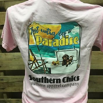 SALE Southern Chics Just Another Day in Paradise Dogs Comfort Colors Girlie Bright T Shirt