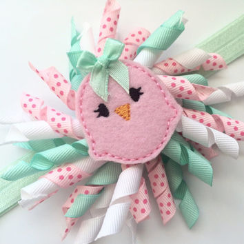 Easter Chick Headband - Mint Green Headband for Easter - Headband Photo Prop for Baby - Easter Head Band - Korker Bow Headband for Girls