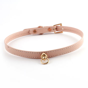 Pale Pink and Rose Gold Leather Choker