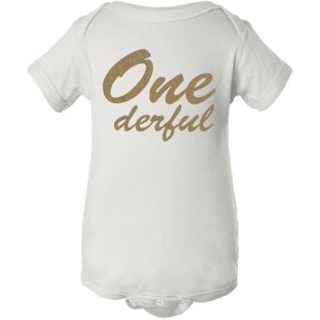 """One-derful Glitter Word"" Creeper Baby Onesuit"