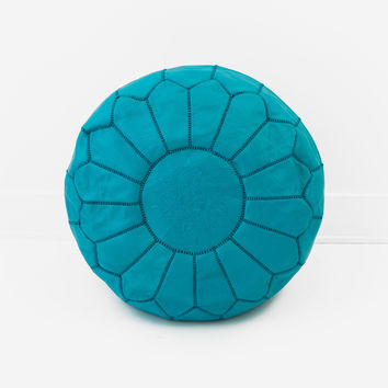 Moroccan Leather Pouf, Teal