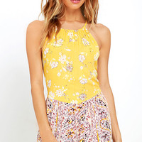 Billabong Sea Bound Yellow Print Romper