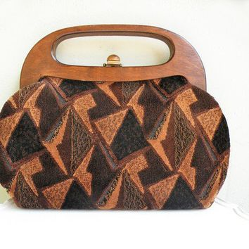 Vintage Carpetbag Purse Brown Geometric Tribal with Wood Handles 1960s