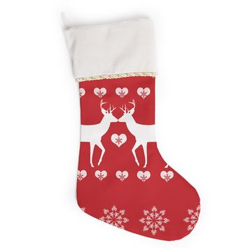 "Suzanne Carter ""Christmas Deer 2"" Holiday Pattern Christmas Stocking"