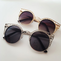 Cage Fighter Round Metal Mesh Cat Eye Sunglasses