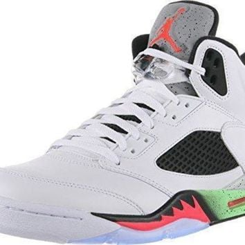 DCK7YE Nike Mens Air Jordan Retro 5 Space Jam Basketball Shoes White/Poison Green/Black/Infra