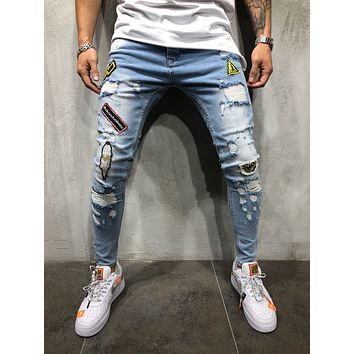 Men's Street Style Skinny Ripped Jeans With Patches 4367