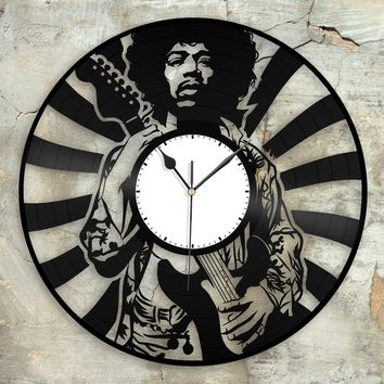 Jimi Hendrix Clock Unique Wall Clock Jimi Hendrix art Retro Clock Gift For Him Clock Collector Gift Mens Cave Decoration Vinyl Record clock