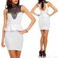 White Patchwork Lace Hollow-out Backless Band Collar Mini Dress