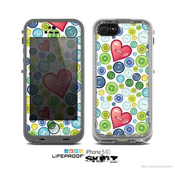 The White Vintage Vector Heart Buttons Skin for the Apple iPhone 5c LifeProof Case