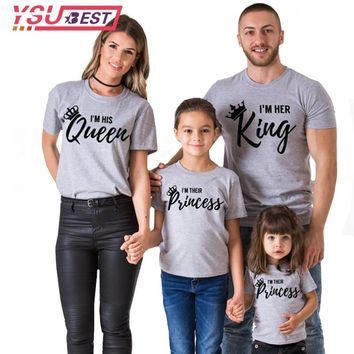 Cool 2018 Summer Style Women T-shirt Queen King Letter Printed Casual Female Family Couple Lover Tee O-Neck Gray Black Tops ShirtsAT_93_12