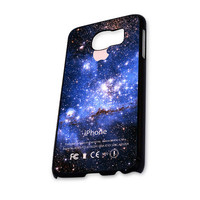 BLUE GALAXY NEBULA WITH APPLE Samsung Galaxy S6 Case