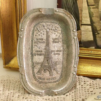 Vintage PARIS Eiffel Tower France ashtray plate souvenir aged Paris silver metal plate made in France