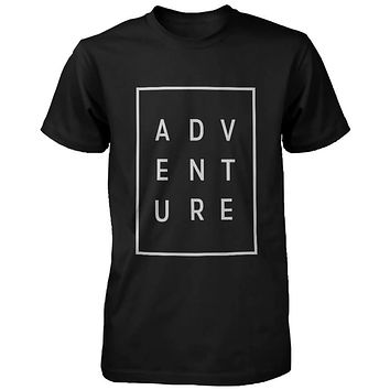 Adventure Men's T-shirt Trendy Typographic Tee Cute Short sleeve Shirt