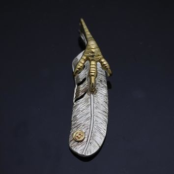 DIY Feather Umbrella Beads pendant Brass Knife Cendant Pendant Rope Copper Knife Rope Outdoors Knife EDC Knife Pendant Brass