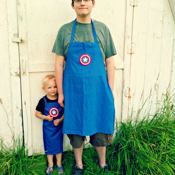 Father/Mother and Son/Daughter Matching Captain America BBQ Apron - Embroidered and Personalized Apron