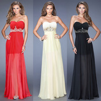Fashion Womens Chiffon Long Dress Gem Embellished Bridesmaid Party Dress Gown K993