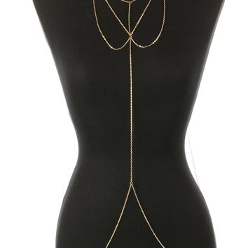 Loops Gold Necklace and Layered Body Chain