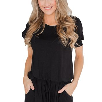 Casual Black Short Sleeve Drawstring Romper