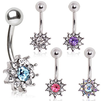 316L Surgical Steel Multi CZ Flower Navel Ring