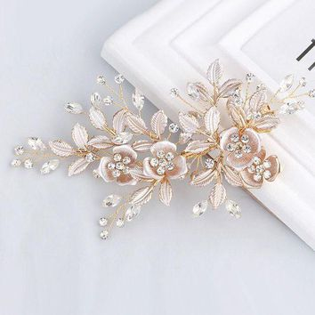 VONG2W Elegant Handmade Golden Crystal Freshwater Pearls Flower Leaf Wedding Hair Clip Barrette Bridal Headpiece Hair accessories