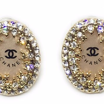 KC Luxurys CHANEL Inspired Gold And Crystal Earrings